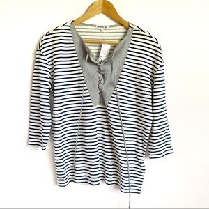 Lacoste NWT White Striped Lace Up Neck Top